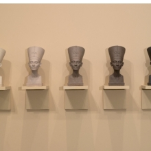 Fred Wilson (American, b. 1954). Grey Area (Brown Version), 1993. Paint, plaster, wood, Overall: 20 × 84 in. (50.8 × 213.4 cm); Each bust: 183⁄4 x 9 × 13 in. (47.6 × 22.9 × 33 cm). Brooklyn Museum, Bequest of William K. Jacobs, Jr. and bequest of Richard J. Kempe, by exchange, 2008.6a–j