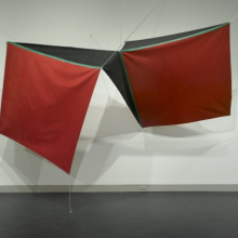 <p>Joe Overstreet (American, b. 1934). <em>Power Flight</em>, 1971. Acrylic on canvas with metal grommets and white rope, 8 × 110 × 8 in. (20.3 × 279.4 × 20.3 cm). Brooklyn Museum, Gift of Mr. and Mrs. John de Menil, 72.165</p>