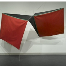 <p>Joe Overstreet (American, b. 1934). <em>Power Flight</em>, 1971. Acrylic on canvas with metal grommets and white rope, 8 &times; 110 &times; 8 in. (20.3 &times; 279.4 &times; 20.3 cm). Brooklyn Museum, Gift of Mr. and Mrs. John de Menil, 72.165</p>