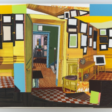 <p>Mickalene Thomas (American, b. 1971). <em>Monet's Salle à Manger Jaune</em>, 2012. Rhinestone, acrylic, oil, enamel on wood panel, 108 × 144 × 2 in. (274.3 × 365.8 × 5.1 cm). Brooklyn Museum, A. Augustus Healy Fund, 2012.73a–b</p>