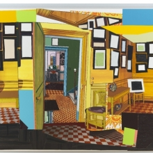 <p>Mickalene Thomas (American, b. 1971). <em>Monet&rsquo;s Salle &agrave; Manger Jaune</em>, 2012. Rhinestone, acrylic, oil, enamel on wood panel, 108 &times; 144 &times; 2 in. (274.3 &times; 365.8 &times; 5.1 cm). Brooklyn Museum, A. Augustus Healy Fund, 2012.73a&ndash;b</p>