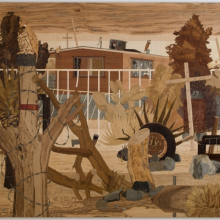 <p>Alison Elizabeth Taylor (American, b. 1973). <em>Security House</em>, 2008&ndash;10. Wood veneer, shellac, 93 &times; 122 in. (236.2 &times; 309.9 cm). Brooklyn Museum, Gift of the Contemporary Art Acquisition Committee, 2013.29.2a&ndash;c</p>