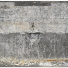 <p>Anselm Kiefer (German, b. 1945). <em>Naglfar</em>, 1988. Soldered lead boat, metal, wood, nails on treated lead laid on panel, 77 × 118<sup>1</sup>⁄<sub>2</sub> x 8<sup>3</sup>⁄<sub>4</sub> in. (195.6 × 301 × 22.2 cm). Brooklyn Museum, Private collection, L2013.2. © Anselm Kiefer</p>