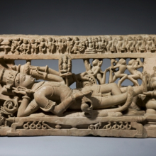 <p><i>Vishnu in His Cosmic Sleep</i>. Central India (Madhya Pradesh), circa 12th century. Sandstone, 14<sup>9</sup>⁄<sub>16</sub> x 27<sup>9</sup>⁄<sub>16</sub> in. (37 × 70 cm). Private collection, Europe. Photo: Courtesy of Oliver Forge and Brendan Lynch Ltd.</p>
