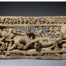 <p><i>Vishnu in His Cosmic Sleep</i>. Central India (Madhya Pradesh), circa 12th century. Sandstone, 14<sup>9</sup>⁄<sub>16</sub> x 27<sup>9</sup>⁄<sub>16</sub> in. (37 &#215; 70 cm). Private collection, Europe. Photo: Courtesy of Oliver Forge and Brendan Lynch Ltd.</p>