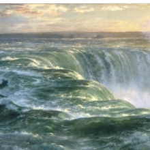 <p><i>Niagara</i>, 1866. Louis R&eacute;my Mignot (American, 1831&ndash;1870).Oil on canvas, 48<sup>3</sup>&frasl;<sub>4</sub> x 91<sup>1</sup>&frasl;<sub>2</sub> in. (123.8 &times; 232.4 cm). Brooklyn Museum; Gift of Arthur S. Fairchild, 1993.118</p>
