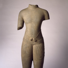 <p><i>Torso of a Male Divinity</i>, 1010–1080. Cambodia, Baphuon style. Sandstone, 30<sup>1</sup>⁄<sub>2</sub> x 12<sup>1</sup>⁄<sub>4</sub> x 5<sup>3</sup>⁄<sub>4</sub> in. (77.5 × 31.1 × 14.6 cm). Brooklyn Museum; Gift of Georgia and Michael de Havenon, 1996.210.1</p>