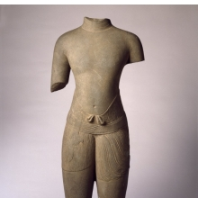 <p><i>Torso of a Male Divinity</i>, 1010&ndash;1080. Cambodia, Baphuon style. Sandstone, 30<sup>1</sup>&frasl;<sub>2</sub> x 12<sup>1</sup>&frasl;<sub>4</sub> x 5<sup>3</sup>&frasl;<sub>4</sub> in. (77.5 &times; 31.1 &times; 14.6 cm). Brooklyn Museum; Gift of Georgia and Michael de Havenon, 1996.210.1</p>