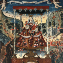 <p><i>Our Lady of Cocharcas Under the Baldachin</i>, inscribed 1765. Unidentified artist of the Cuzco School. Cuzco, Peru. Oil on canvas, 78<sup>1</sup>⁄<sub>4</sub> x 56<sup>1</sup>⁄<sub>2</sub> in. (198.8 × 143.5 cm). Brooklyn Museum; Bequest of Mary T. Cockcroft, by exchange, 57.144</p>