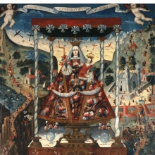 <p><i>Our Lady of Cocharcas Under the Baldachin</i>, inscribed 1765. Unidentified artist of the Cuzco School. Cuzco, Peru. Oil on canvas, 78<sup>1</sup>&frasl;<sub>4</sub> x 56<sup>1</sup>&frasl;<sub>2</sub> in. (198.8 &times; 143.5 cm). Brooklyn Museum; Bequest of Mary T. Cockcroft, by exchange, 57.144</p>
