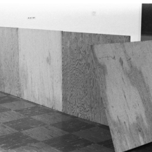 <p>Installation view of the exhibition <i>955,000</i> including construction made following instructions provided by Richard Serra; Vancouver Art Gallery, University of British Columbia, Vancouver, January 13–February 8, 1970; organized by Lucy R. Lippard. Vancouver Art Gallery Archives. (Photo: Vancouver Art Gallery)</p>