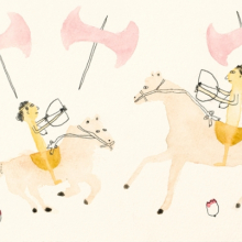 <p>Kim Kelly (American, b. 1980). <i>Two Amazons together on horseback with labryses all around</i>, 2012. Watercolor and pencil, 6 × 9 in. (15.2 × 22.9 cm). Courtesy of the artist</p>