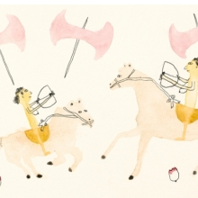 <p>Kim Kelly (American, b. 1980). <i>Two Amazons together on horseback with labryses all around</i>, 2012. Watercolor and pencil, 6 &#215; 9 in. (15.2 &#215; 22.9 cm). Courtesy of the artist</p>