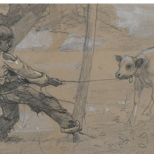 <p>Winslow Homer (American, 1836–1910). <i>The Unruly Calf</i>, circa 1875–76. Graphite and white opaque watercolor on blue-gray wove paper, 4<sup>11</sup>⁄<sub>16</sub> x 8<sup>1</sup>⁄<sub>2</sub> in. (11.9 &#215; 21.6 cm). Brooklyn Museum, Museum Collection Fund, 24.241</p>