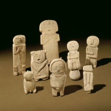 <p>Mimbres artist(s). <i>Stone Effigies</i>, 1000&ndash;1100 B.C.E. Sanders, Arizona, United States. Stone, pigment. Museum Expedition 1903, Museum Collection Fund, 03.325.4527&ndash;.4534</p>