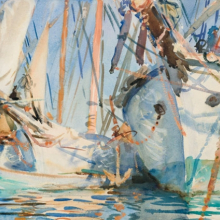 <p>John Singer Sargent (American, 1856–1925). <i>White Ships</i>, circa 1908. Translucent and opaque watercolor and wax resist with graphite underdrawing, 14 &#215; 19<sup>3</sup>⁄<sub>8</sub> in. (35.6 &#215; 49.2 cm). Brooklyn Museum, Purchased by Special Subscription, 09.846</p>