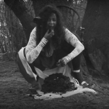 <p>Wangechi Mutu (Kenyan, b. 1972). <i>Eat Cake</i> (still), 2012. Video installation, black and white, sound, 12 min. 51 sec. Courtesy of the artist. © Wangechi Mutu</p>