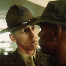 <p>Thomas Hoepker (German, b.1936). <em>A US Marine drill sergeant delivers a severe reprimand to a recruit, Parris Island, South Carolina</em>, from the series <em>US Marine Corps Boot Camp</em>, 1970. Inkjet print (printed 2012), 14<sup>13</sup>⁄<sub>16</sub> x 22 in. (37.6 × 55.9 cm). © Thomas Hoepker / Magnum Photos</p>