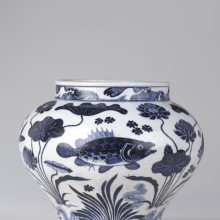 <p><em>Wine Jar with Fish and Aquatic Plants.</em> China, Yuan dynasty, 14th century. Porcelain with underglaze cobalt blue decoration, 11<sup>15</sup>/<sub>16</sub> × 13<sup>3</sup>/<sub>4 </sub>in. (30.3 × 34.9 cm). Brooklyn Museum; The William E. Hutchins Collection, Bequest of Augustus S. Hutchins, 52.87.1. (Photo: Brooklyn Museum)</p>