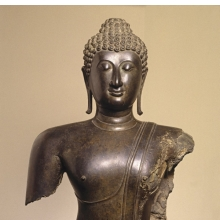 <p><em>Head and Torso of a Buddha</em>. Thailand. Sukhothai period (1250&ndash;1378), 14th century. Bronze, 38 &times; 22 &times; 11 in. (96.5 &times; 55.9 &times; 27.9 cm). Brooklyn Museum, Purchased with funds given by the Charles Bloom Foundation, Inc., in memory of Mildred and Charles Bloom, 88.94</p>