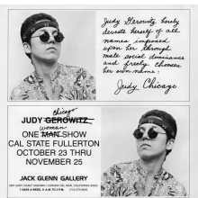 <p>Name-change announcement for <i>Judy Chicago</i> exhibition at California State College, Fullerton, October 23–November 25, 1970.<i> Artforum</i>, vol. 9 (October 1970). Courtesy of the artist</p>