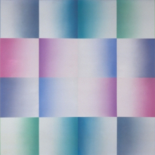<p>Judy Chicago (American, b. 1939). <i>Silver Blue Fan</i>, from <i>Fresno Fans</i> series, 1971. Sprayed acrylic on sheet acrylic, 60 &#215; 120 in. (152.4 &#215; 304.8 cm). Collection of Schaeffer Projects. © Judy Chicago. Photo © Donald Woodman</p>