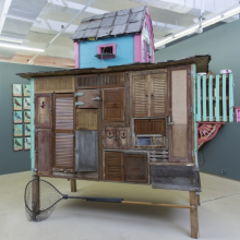 <p>Duke Riley (American, b. 1972). <em>Pigeon Loft</em>, 2012–13. Reclaimed wood; roofing and construction materials, 168 × 120 × 72 in. (426.7 × 304.8 × 182.9 cm). Collection of Laura Lee Brown and Steve Wilson, 21c Museum, Louisville, Kentucky. © Duke Riley. Photo: Zach Callahan</p>