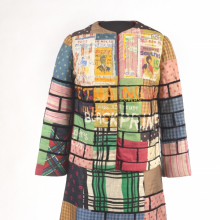 <p>Jae Jarrell (American, b. 1935). <em>Urban Wall Suit</em>, circa 1969. Dyed and printed silk with paint, 38 × 21 × 10 (96.5 × 53.3 × 25.4 cm). Brooklyn Museum, Gift of R. M. Atwater, Anna Wolfrom Dove, Alice Fiebiger, Joseph Fiebiger, Belle Campbell Harriss, and Emma L. Hyde, by exchange; Designated Purchase Fund, Mary Smith Dorward Fund, Dick S. Ramsay Fund, and Carll H. de Silver Fund, 2012.80.16. © Jae Jarrell</p>