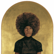 <p>Barkley L. Hendricks (American, b. 1945). <em>Lawdy Mama</em>, 1969. Oil and gold leaf on canvas, 53<sup>3</sup>⁄<sub>4</sub> x 36<sup>1</sup>⁄<sub>4</sub> in. (136.5 × 92.1 cm). The Studio Museum in Harlem, Gift of Stuart Liebman, in memory of Joseph B. Liebman, 83.25. © Barkley L. Hendricks. Photo: Courtesy of the artist and Jack Shainman Gallery, New York</p>
