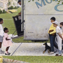 <p>Norman Rockwell (American, 1894–1978). <em>New Kids in the Neighborhood (Negro in the Suburbs)</em>, 1967. Oil on canvas, 36<sup>1</sup>⁄<sub>2</sub> x 57<sup>1</sup>⁄<sub>2</sub> in. (92.7 × 146.1 cm). Story illustration for Look, May 16, 1967. Norman Rockwell Museum Collection, Stockbridge, Massachusetts. Printed by permission of the Norman Rockwell Family Agency. © 2013 the Norman Rockwell Family Entities</p>