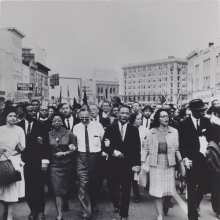 <p>Moneta Sleet Jr. (American, 1926–1996). <em>Rosa Parks, Dr. and Mrs. Abernathy, Dr. Ralph Bunche, and Dr. and Mrs. Martin Luther King, Jr. leading marchers into Montgomery</em>, 1965, printed circa 1970. Gelatin silver print, 13<sup>3</sup>⁄<sub>8</sub> x 10<sup>3</sup>⁄<sub>4</sub> in. (34 × 27.3 cm). Saint Louis Art Museum, Gift of the Johnson Publishing Company, 426:1991. © Johnson Publishing Company, LLC</p>