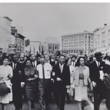 <p>Moneta Sleet Jr. (American, 1926&ndash;1996). <em>Rosa Parks, Dr. and Mrs. Abernathy, Dr. Ralph Bunche, and Dr. and Mrs. Martin Luther King, Jr. leading marchers into Montgomery</em>, 1965, printed circa 1970. Gelatin silver print, 13<sup>3</sup>&frasl;<sub>8</sub> x 10<sup>3</sup>&frasl;<sub>4</sub> in. (34 &times; 27.3 cm). Saint Louis Art Museum, Gift of the Johnson Publishing Company, 426:1991. &copy; Johnson Publishing Company, LLC</p>