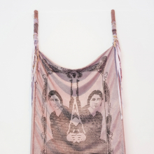 <p>L. J. Roberts (American, born 1980). <em>Sisters Are Doing It for Themselves</em>, 2011. Jacquard-woven cotton and Lurex, hand-dyed fabric, crank-knit yarn, thread, 120 x 48 in. (304.8 x 121.9 cm). Courtesy of the artist. (Photo: Mario Gallucci)</p>