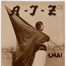 <p>Tina Modotti (Italian, 1896&ndash;1942). <em>Woman with Flag (1 de Mayo, Muher con Bandera), A- I-Z</em>, Iss. 17 (1931). Rotogravure, approx. 15<sup>1</sup>/<sub>8</sub> x 11<sup>1</sup>/<sub>8</sub> in. (38.2 x 28 cm). The Museum of Fine Arts Houston, Museum purchase funded by Max and Isabell Smith Herzstein</p>