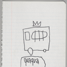 <p>Jean-Michel Basquiat (American, 1960&ndash;1988). <em>Untitled Notebook Page</em>, 1980&ndash;81. Ink on ruled notebook paper, 9<sup>5</sup>&frasl;<sub>8</sub> x 7<sup>5</sup>&frasl;<sub>8</sub> in. (24.5 &times; 19.4 cm). Collection of Larry Warsh. Copyright &copy; Estate of Jean-Michel Basquiat, all rights reserved. Licensed by Artestar, New York. Photo: Sarah DeSantis, Brooklyn Museum</p>