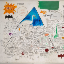 <p>Jean-Michel Basquiat (American, 1960&ndash;1988). <em>Untitled</em>, 1986. Acrylic, collage, and oilstick on paper on canvas, 94<sup>1</sup>&frasl;<sub>8</sub> x 136<sup>2</sup>&frasl;<sub>5</sub> in. (239 &times; 346.5 cm). Collection of Larry Warsh. Copyright &copy; Estate of Jean-Michel Basquiat, all rights reserved. Licensed by Artestar, New York. Photo: Gavin Ashworth, Brooklyn Museum</p>