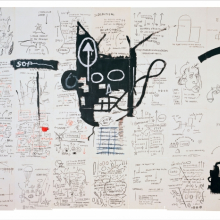 <p>Jean-Michel Basquiat (American, 1960–1988). <em>Untitled</em>, 1982–83. Oilstick, colored pencil, crayon, and gouache on paper mounted on canvas, 96 × 126 in. (243.8 × 320 cm). Collection of Fred Hoffman. Copyright © Estate of Jean-Michel Basquiat, all rights reserved. Licensed by Artestar, New York</p>