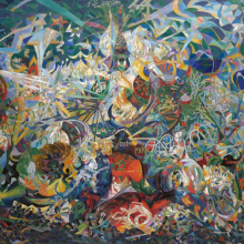 <p>Joseph Stella (American, born Italy, 1877–1946). <em>Battle of Lights, Coney Island, Mardi Gras</em>, 1913–14. Oil on canvas, 77 × 84<sup>3</sup>⁄<sub>4</sub> in. (195.6 × 215.3 cm). Yale University Art Gallery, New Haven, Connecticut; Gift of Collection Société Anonyme, 1941.689</p>