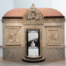 <p>FAILE. Installation view of<em> FAILE Temple </em>at the Brooklyn Museum, 2015. Courtesy of the artists. © FAILE. (Photo: Jonathan Dorado, Brooklyn Museum)</p>