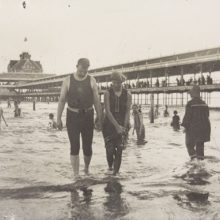 <p>George Bradford Brainerd (American, 1845–1887). <em>Bathers, Steel Pier, Coney Island</em>, circa 1880–85; printed 1940s. Gelatin silver photograph, image: 7<sup>5</sup>⁄<sub>8</sub> x 12 in. (19.4 × 30.5 cm). Brooklyn Museum, Brooklyn Museum Collection, X894.149. (Photo: Sarah DeSantis, Brooklyn Museum)</p>