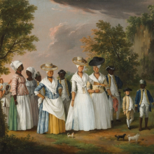 <p>Agostino Brunias (Italian, ca. 1730–1796). <em>Free Women of Color with Their Children and Servants in a Landscape</em>, circa 1770–96. Oil on canvas, 20 × 26<sup>1</sup>⁄<sub>8</sub> in. (50.8 × 66.4 cm). Brooklyn Museum, Gift of Mrs. Carll H. de Silver in memory of her husband, by exchange and gift of George S. Hellman, by exchange. Brooklyn Museum photograph</p>