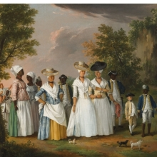 <p>Agostino Brunias (Italian, ca. 1730&ndash;1796). <em>Free Women of Color with Their Children and Servants in a Landscape</em>, circa 1770&ndash;96. Oil on canvas, 20 &times; 26<sup>1</sup>&frasl;<sub>8</sub> in. (50.8 &times; 66.4 cm). Brooklyn Museum, Gift of Mrs. Carll H. de Silver in memory of her husband, by exchange and gift of George S. Hellman, by exchange. Brooklyn Museum photograph</p>