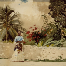 <p>Winslow Homer (American, 1836–1910). <em>On the Way to Market, Bahamas,</em> 1885. Watercolor over pencil, 13<sup>15</sup>⁄<sub>16</sub> × 20<sup>1</sup>⁄<sub>16</sub> in. (35.4 × 51.0 cm). Brooklyn Museum, Gift of Gunnar Maske in memory of Elizabeth Treadway White Maske. Brooklyn Museum photograph</p>