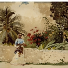 <p>Winslow Homer (American, 1836&ndash;1910). <em>On the Way to Market, Bahamas,</em> 1885. Watercolor over pencil, 13<sup>15</sup>&frasl;<sub>16</sub> &times; 20<sup>1</sup>&frasl;<sub>16</sub> in. (35.4 &times; 51.0 cm). Brooklyn Museum, Gift of Gunnar Maske in memory of Elizabeth Treadway White Maske. Brooklyn Museum photograph</p>