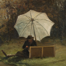 <p>Francisco Oller (Puerto Rican, 1833–1917). <em>Paul Cézanne Painting Out of Doors</em>, circa 1864. Oil on canvas, 10 × 13 in. (25.4 × 33 cm). Collection of Dr. Luis R. de Corral and Lorraine Vázquez de Corral</p>