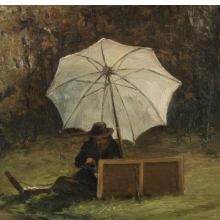 <p>Francisco Oller (Puerto Rican, 1833&ndash;1917). <em>Paul C&eacute;zanne Painting Out of Doors</em>, circa 1864. Oil on canvas, 10 &times; 13 in. (25.4 &times; 33 cm). Collection of Dr. Luis R. de Corral and Lorraine V&aacute;zquez de Corral</p>
