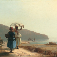 <p>Camille Jacob Pissarro (French, born Danish West Indies, 1830–1903). <em>Two Women Chatting by the Sea, St. Thomas</em>, 1856. Oil on canvas, 10<sup>7</sup>⁄<sub>8</sub> × 16<sup>1</sup>⁄<sub>8</sub> in. (27.6 × 41 cm). National Gallery of Art, Washington, D.C., Collection of Mr. and Mrs. Paul Mellon, 1985.64.30</p>