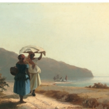 <p>Camille Jacob Pissarro (French, born Danish West Indies, 1830&ndash;1903). <em>Two Women Chatting by the Sea, St. Thomas</em>, 1856. Oil on canvas, 10<sup>7</sup>&frasl;<sub>8</sub> &times; 16<sup>1</sup>&frasl;<sub>8</sub> in. (27.6 &times; 41 cm). National Gallery of Art, Washington, D.C., Collection of Mr. and Mrs. Paul Mellon, 1985.64.30</p>
