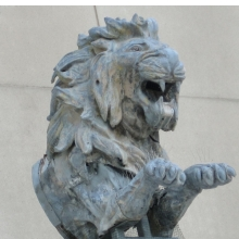 <p>Hugo Haase (German, 1857&ndash;1933). <em>Lion, from the El Dorado Carousel, Coney Island, Brooklyn</em>, circa 1902. Zinc sheeting, Mounted: 82 x 36 x 69 in. (208.3 x 91.4 x 175.3 cm). Brooklyn Museum, Gift of Frederick Fried, 66.251.1</p>