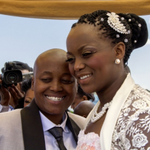 <p>Zanele Muholi (South African, born 1972). <em>Ayanda & Nhlanhla Moremi's wedding I. Kwanele Park, Katlehong, 9 November 2013</em>, 2013. Chromogenic photograph, 10<sup>7</sup>⁄<sub>16</sub> x 14<sup>9</sup>⁄<sub>16</sub> in. (26.5 × 37 cm), framed. © Zanele Muholi. Courtesy of Stevenson, Cape Town/Johannesburg and Yancey Richardson, New York</p>